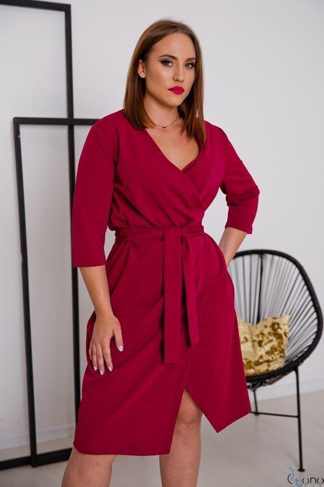 Bordowa Sukienka MAVITA Plus Size