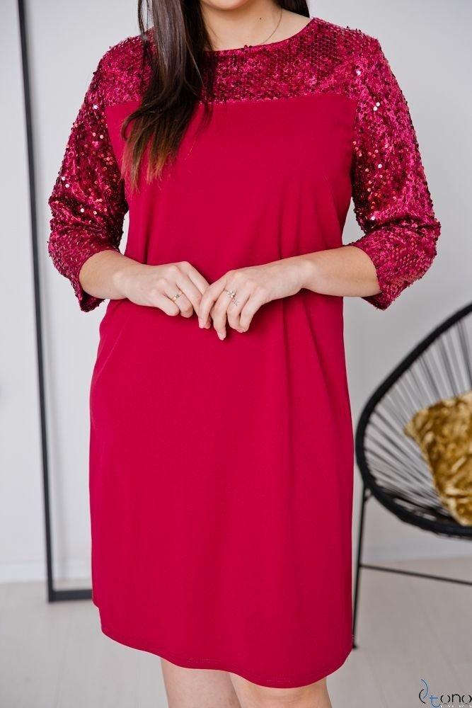 Bordowa Sukienka SACRIMA Plus Size