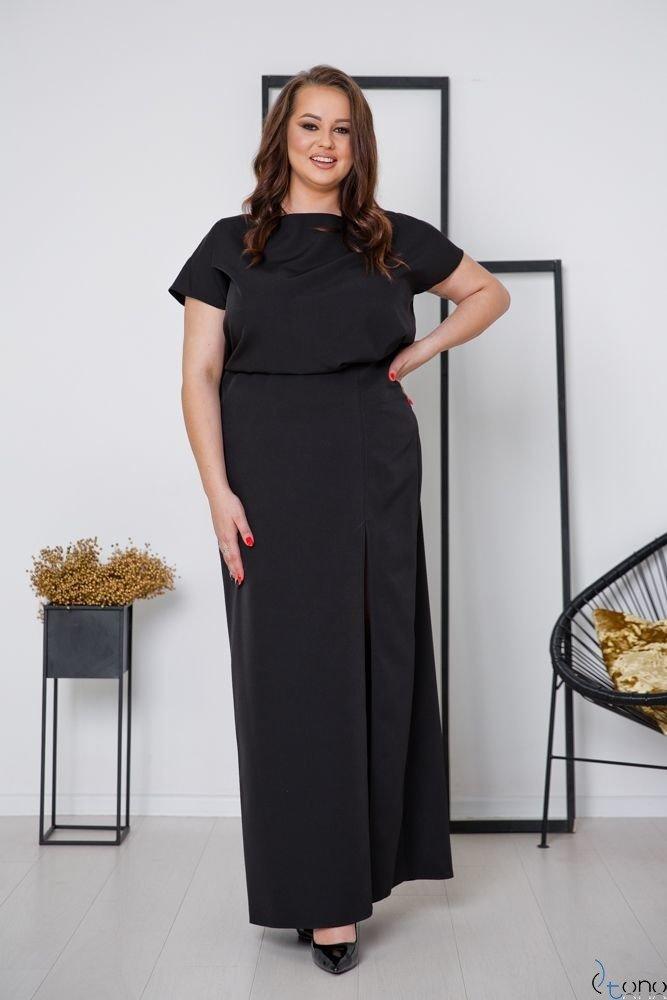 Czarna Sukienka PRIMMA Wizytowa Plus Size