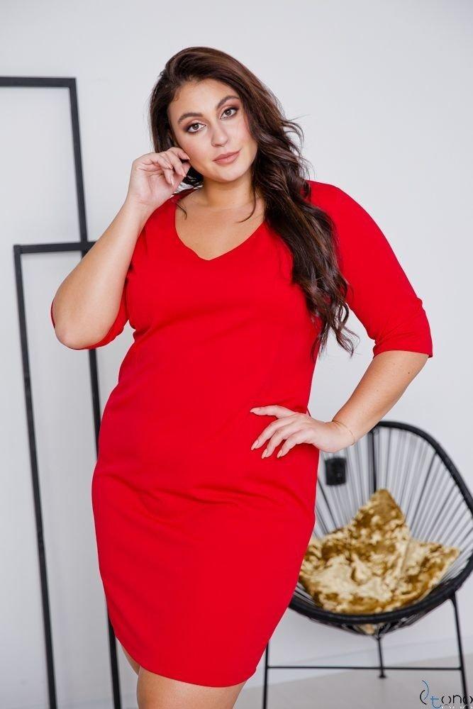 Czerwona Sukienka AZURRA Plus Size