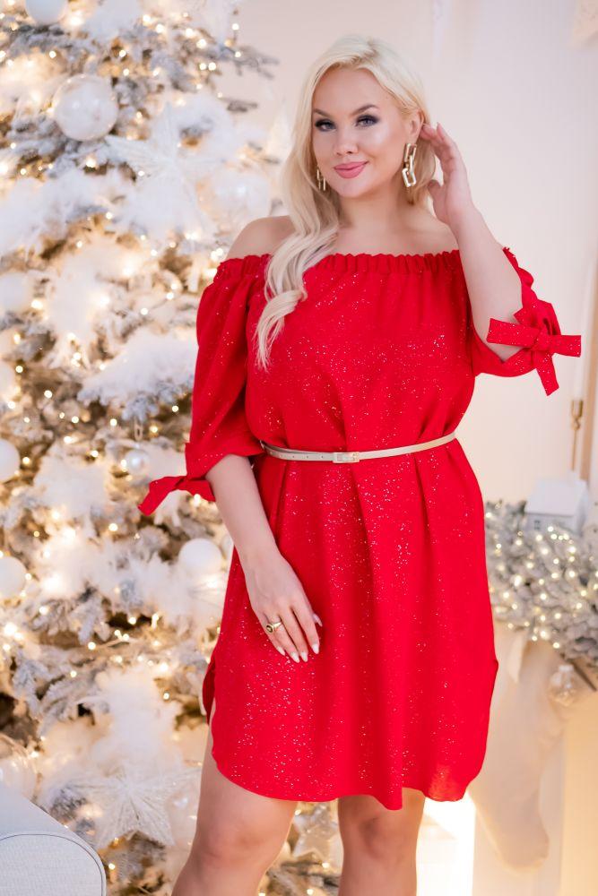 Czerwona Sukienka PENARIS Plus Size