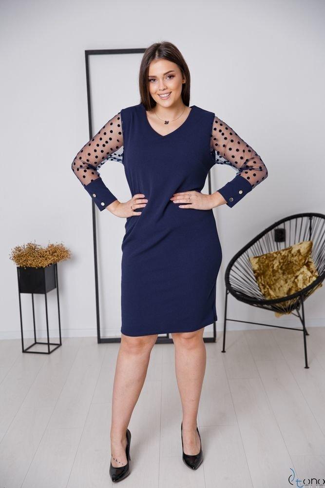 Granatowa Sukienka BOFFINA Plus Size
