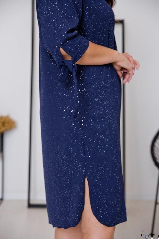 Granatowa Sukienka PENARIS Plus Size