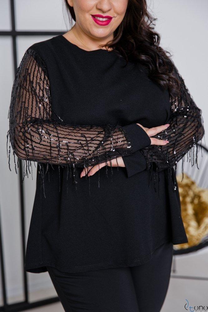 Czarna Bluzka CELEBES Plus Size
