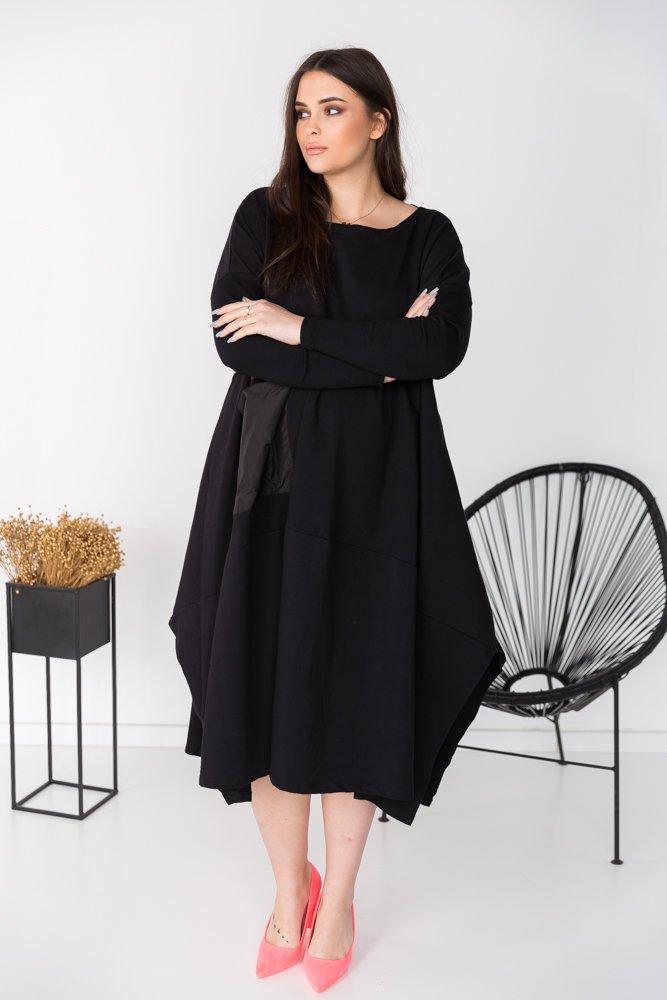 Czarna Sukienka SERELIA Plus Size