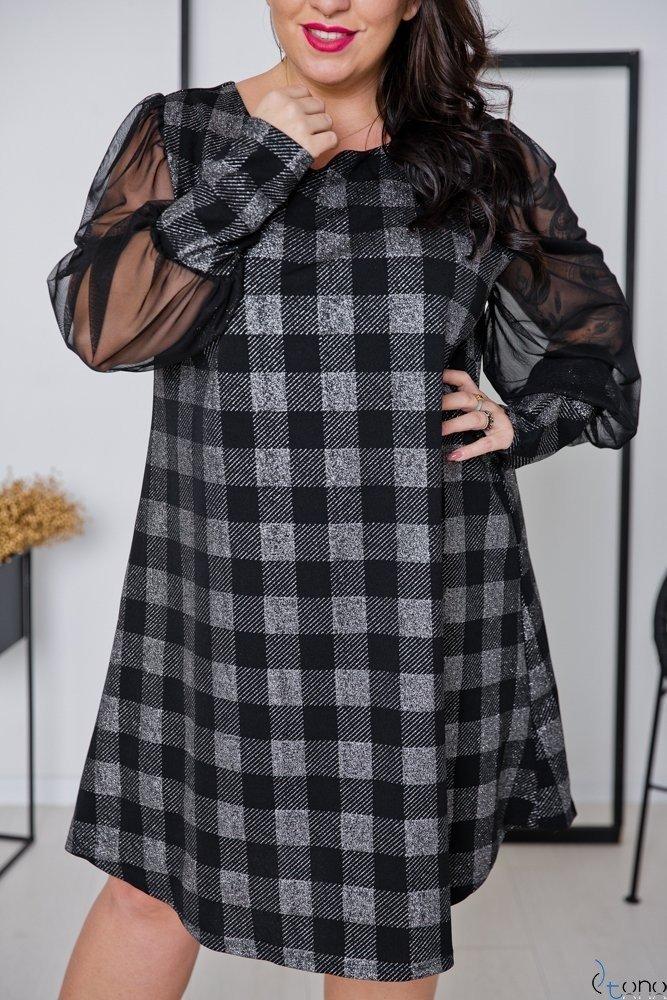 Czarno-Srebrna Sukienka FENICIA Plus Size