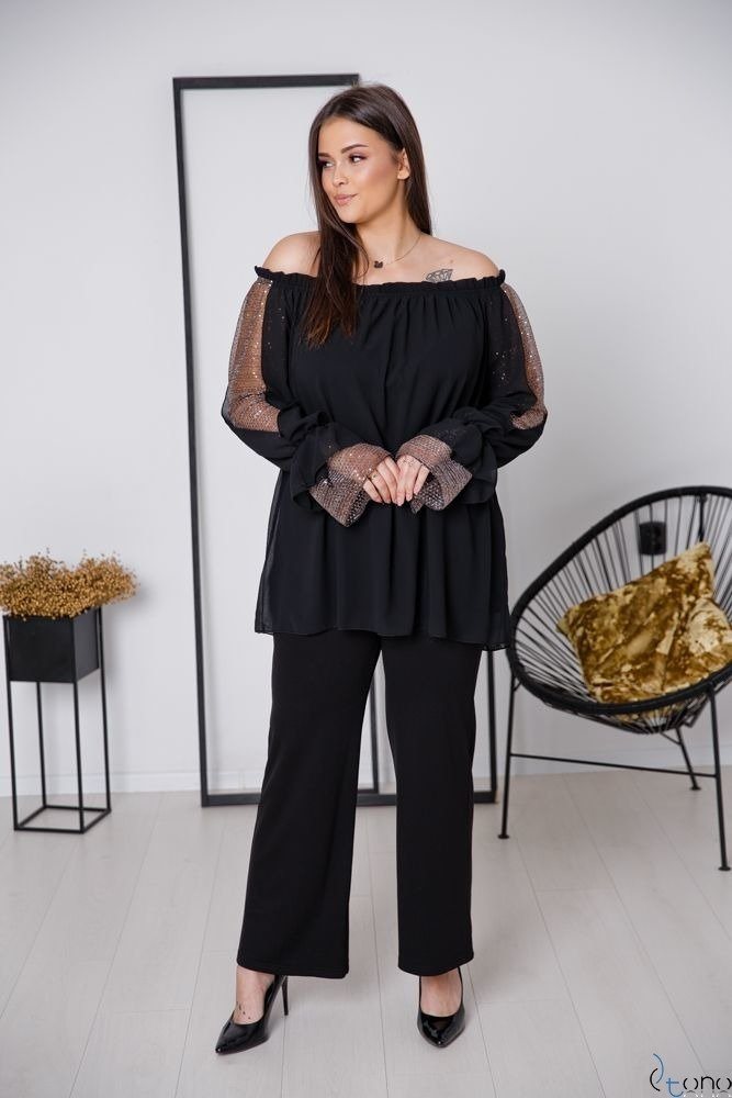 Czarno-Złota Bluzka KERSTY Plus Size