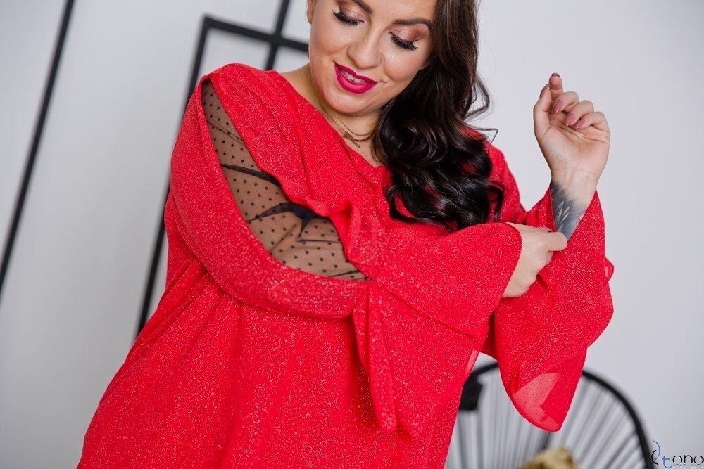 Czerwona Bluzka MOKKIA Plus Size