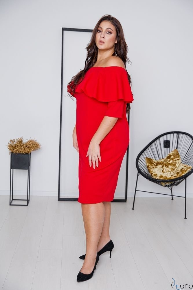 Czerwona Sukienka ALBETTA Plus Size