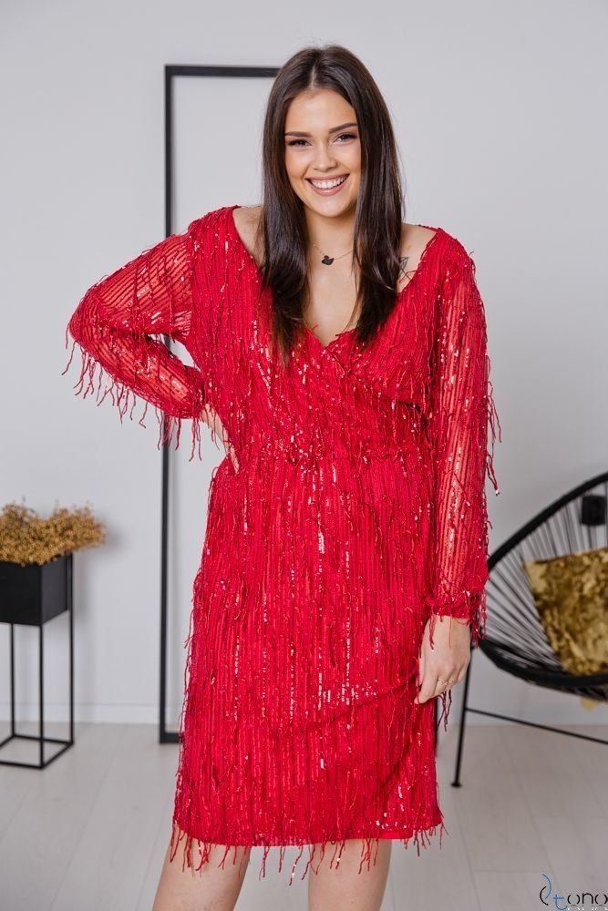 Czerwona Sukienka VELOSA Plus Size