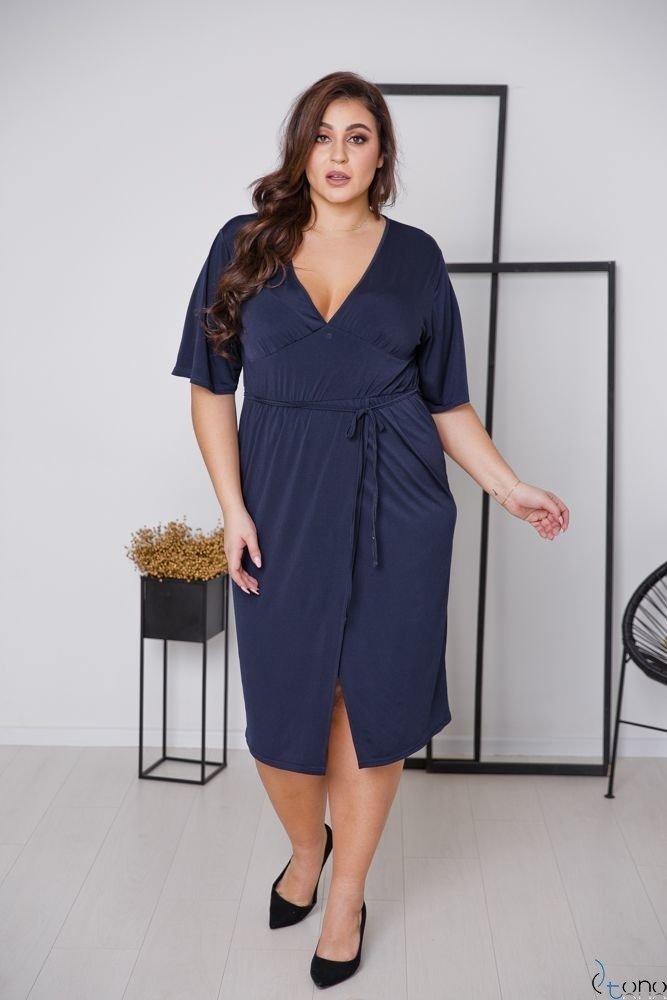 Granatowa Sukienka NICEA Plus Size