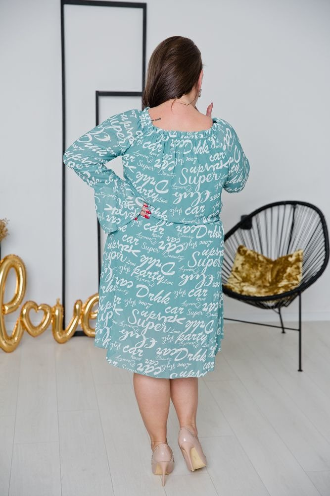 Miętowa Sukienka LONTANA Plus Size