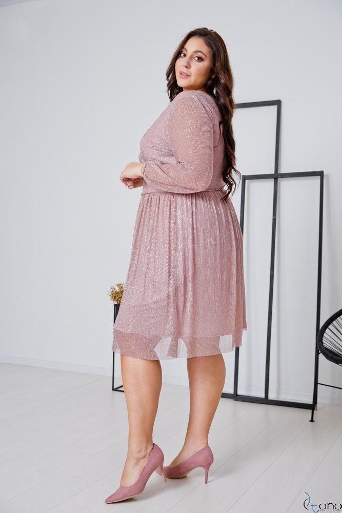 Różowa Sukienka NIKOLLA Plus Size