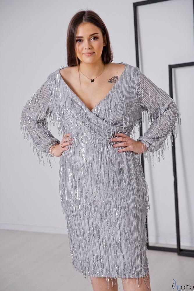 Srebrna Sukienka VELOSA Plus Size
