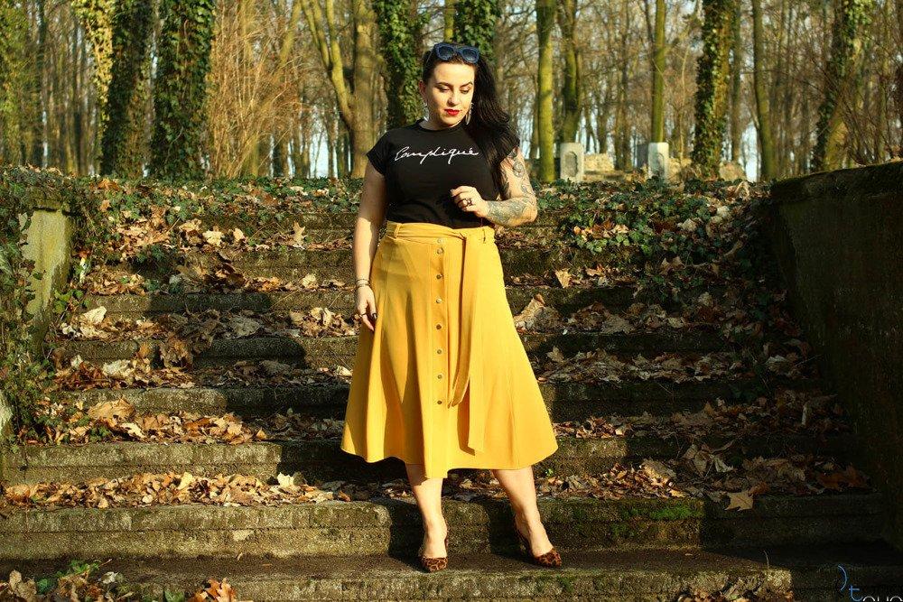 Żółta Spódnica CANELLA Plus Size